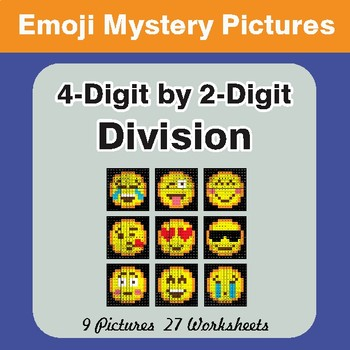 4-Digit by 2-Digit Division Color-By-Number EMOJI Mystery