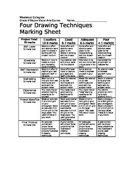 4 Drawing Techniques Marking Sheet