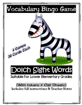 4 Full Dolch Word Vocabulary Printable Bingo Games, with A