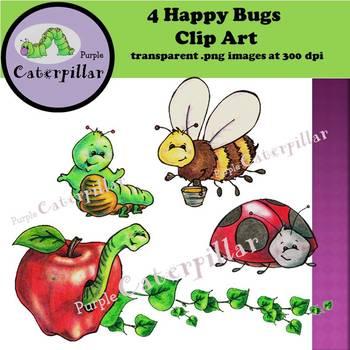 Four Happy Bugs Clip Art