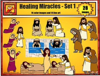 Healing Miracles of Jesus Clip Art set 1: Bible Series by