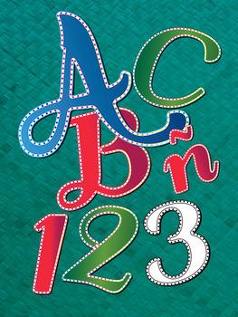 4 Holiday Lights Alphabets - Digital Stamp - 300 DPI PDF-P