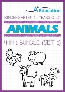 4-IN-1 BUNDLE - Animals (Set 1) - Kindergarten, K2 (4 years old)