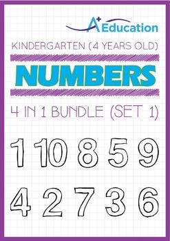 4-IN-1 BUNDLE - Numbers (Set 1) - Kindergarten, K2 (4 years old)