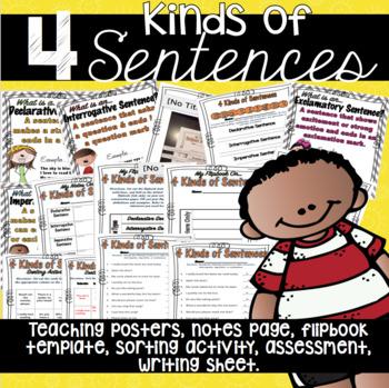 4 Kinds of Sentences Grammar Practice with flip book, post