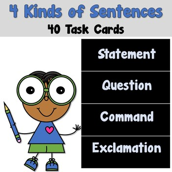 4 Kinds of Sentences Task Cards - Statement Question Comma