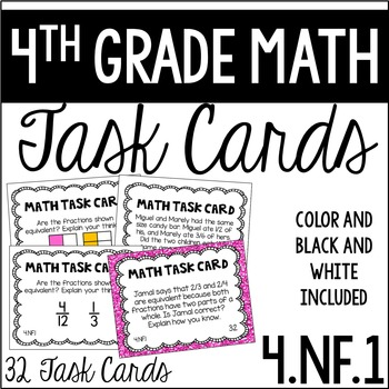 4.NF.1 4th Grade Math Task Cards (Equivalent Fractions)