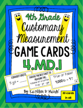 4.MD.1 Game Cards: Customary Measurement