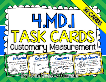 4.MD.1 Task Cards: Customary Measurement