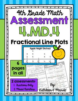 4.MD.4 Assessment: Fractional Line Plots {2 Assessments}