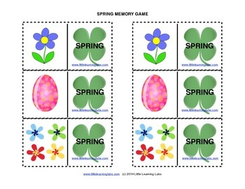 4 Matching Memory Games spring summer fall winter theme -