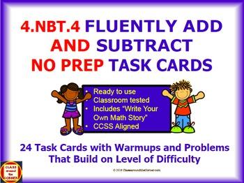 4.NBT.4 Math 4th Grade NO PREP Task Cards— FLUENTLY ADD AN