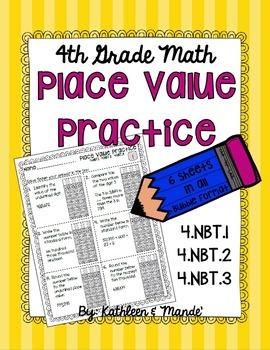 4.NBT Place Value Practice: PARCC Bubble Practice {4.NBT.1