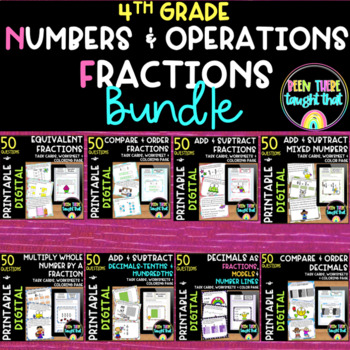 4.NF.1 - 4.NF.7 Fraction and Decimal Task Cards and More BUNDLE