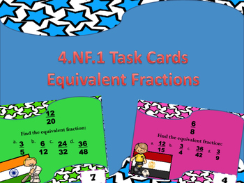 4.NF.1 Task Cards Equivalent Fractions