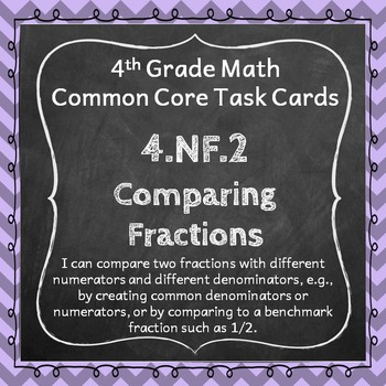 4.NF.2 Task Cards: Comparing Fractions (Fourth-Grade Commo