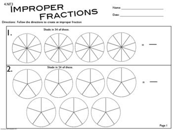4.NF.3 & 5.NF.4 Improper Fractions