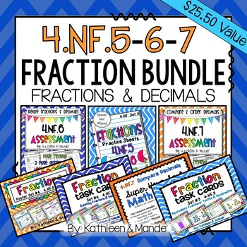 4.NF.5, 4.NF.6, & 4.NF.7 BUNDLE: Fractions & Decimals
