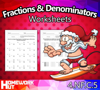 4.NF.5 - Fractions with Denominators of 10 and 100 worksheets