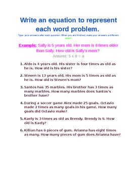 4.OA.1 Writing Equations