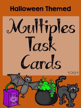 4.OA.B.4 Halloween Multiples Task Cards