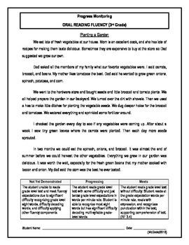 4 Oral Reading Fluency Passage - 3rd Grade