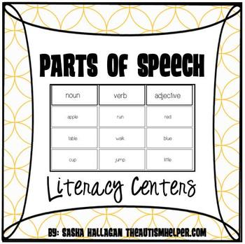 4 Parts of Speech Literacy Centers for Special Education