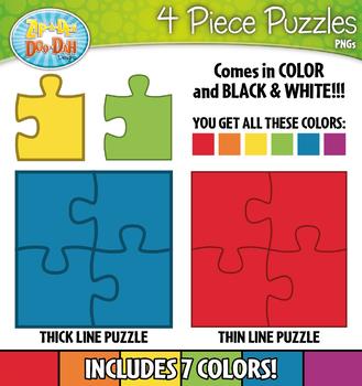 4 Piece Puzzles Clipart — Includes Transparent Pieces!