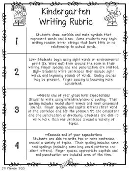 FREE 4 Point Kindergarten Writing Rubric- CCLS Aligned