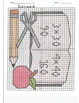 4 Quadrant Coordinate Graph Mystery Picture, Genesis Begin