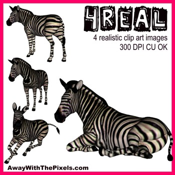 4 Real! 4 Realistic Zebra Clip Art Images - From Away With