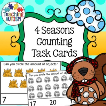 4 Seasons Counting Task Cards