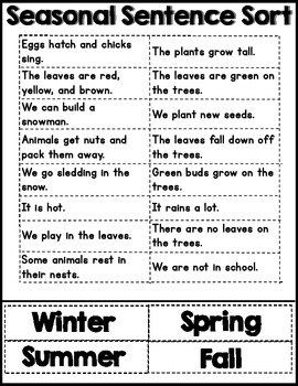 4 Seasons Sentence Sort