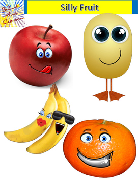 4 Silly Color Fruit Clipart Graphics: Apple, Orange, Banan