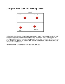 4 Square Team Push Ball Warm-up