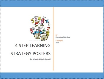 4 Step Learning Posters Strategy Set With Graphic Organize