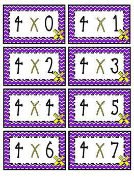 """""""4"""" Times Table Flash Cards"""