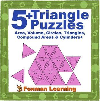 5 Triangle Puzzles for Middle School Measurement Math Common Core