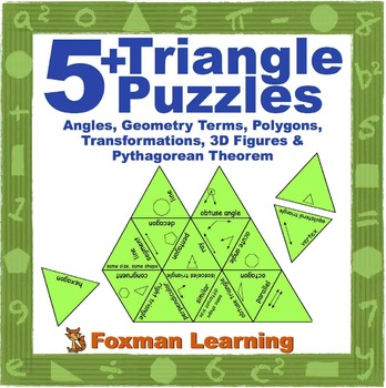 5 Triangle Puzzles for Middle School Geometry Common Core Math