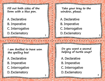4 Types of Sentences Task Cards
