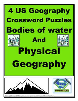 4 US Geography Crossword Puzzles - Bodies of water and Phy