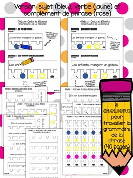 4 ateliers - Grammaire (bleu, jaune et rose)