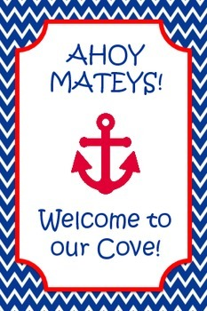 4 by 6 nautical red white and navy blue signs