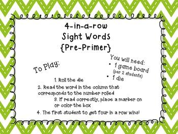 4-in-a-row pre-primer sight words {freebie}