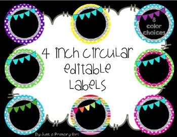 4 inch circular editable labels - polka dots, scallops w/