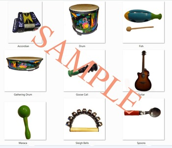 4 sets of 3 by 3 Grids of common classroom instruments for