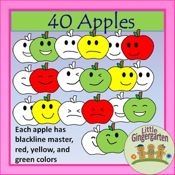 Apples Clipart w/Blackline Master Fall~Back to School~Sequ