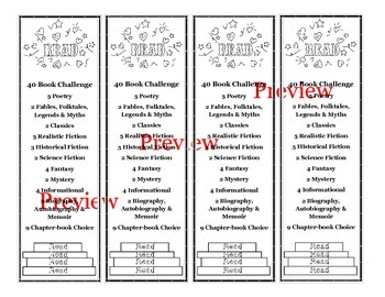 Reading Challenge Bookmarks - Editable