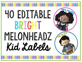 40 Editable Melonheadz Kid Circle Labels