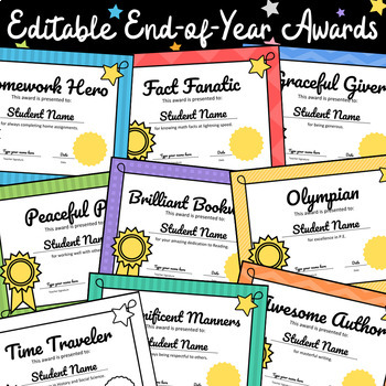 AWARDS - 40 Fun Adjustable Certificates, End of Year Cerem